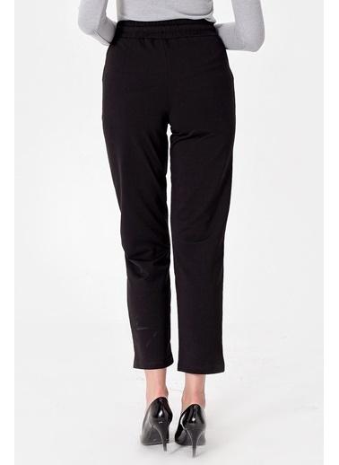 Jument Yüksek Bel Beli Lastikli Cepli Yürüyüş Pantolonu Siyah